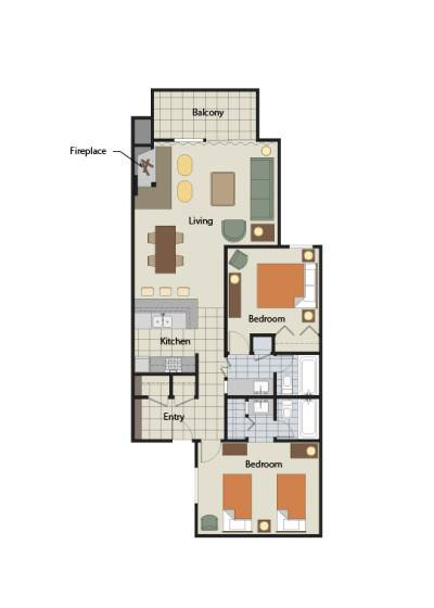 Floor Plan for Aspen CO | The Gant | 2 Bedroom Platinum
